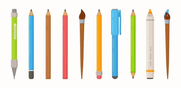 Set studenten etui een groot aantal potloden pennen stiften en penselen en ander briefpapier