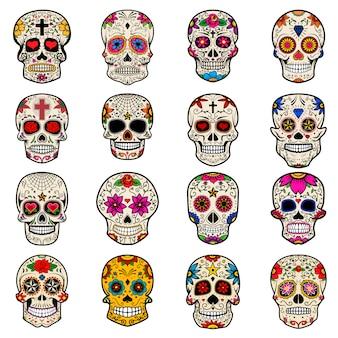Set suikerschedels geïsoleerd op een witte achtergrond. dag van de doden.