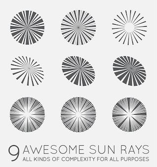 Set sunburst-stralen van de zon