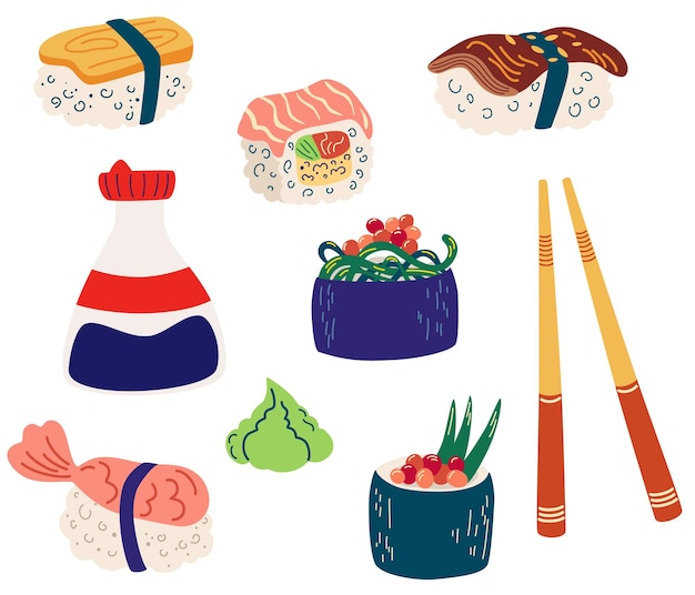 Set sushi en broodjes. gunkan en inari sushi met garnalen, zalm of paling nagiri. sojasaus in een fles, houten stokken. japanse keuken koken. restaurant eten. platte vectorillustratie.