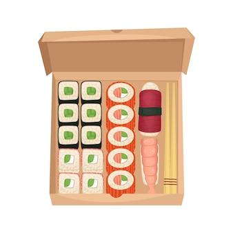 Set sushi en broodjes in een kartonnen doos. japans eten met bezorging.