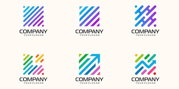 Set symbolen abstracte technologie digitale, biotechnologie, tech pictogrammen logo ontwerpsjabloon.