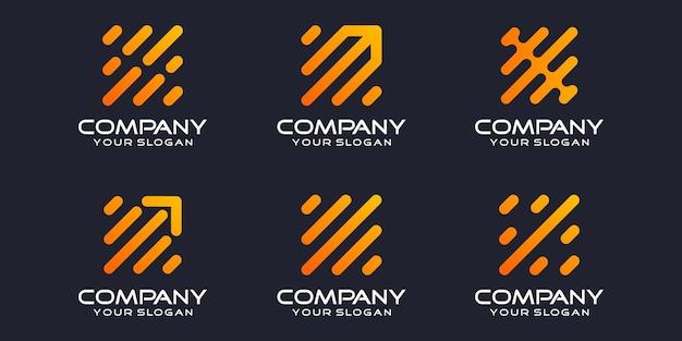 Set symbolen pijl technologie digitale, biotechnologie, tech pictogrammen logo ontwerpsjabloon.