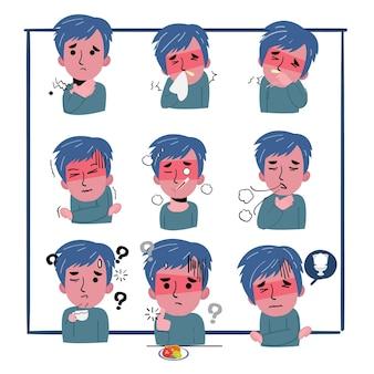 Set symptomen van de mens worden ziek. ze hoest, is vermoeid en heeft pijn op de borst. coronavirus -