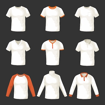 Set t-shirt sjabloon geïsoleerd op zwarte achtergrond. tee sjabloon