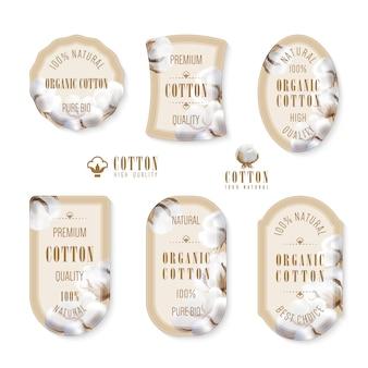 Set tags en logo voor katoenproductie