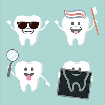 Set tandenkarakters die een bril dragen, zichzelf schoonmaken, botscan