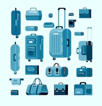 Set tassen, bagage en koffer. vlakke stijl illustratie