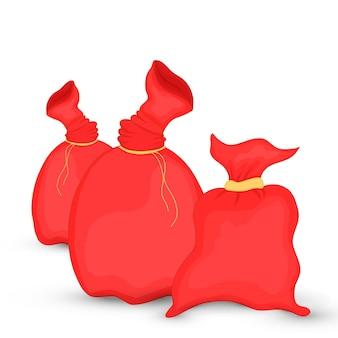 Set tassen sinterklaas. illustratie van kerstmis rode zak. nieuwjaarscollectie. geïsoleerd op een witte achtergrond.