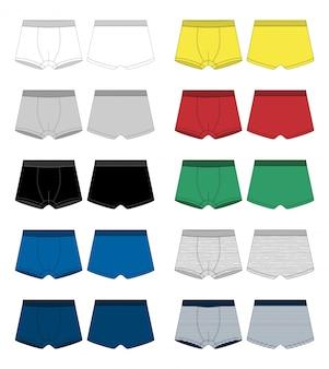 Set technische schets boxershorts. onderbroek op wit wordt geïsoleerd.