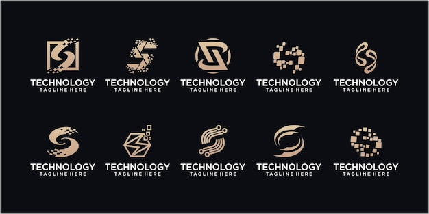 Set technologie letter s dot logo ontwerp. initiaal s voor symbooltechnologie, internet, systeem, kunstmatige intelligentie en computer. inspiratie logo ontwerp modern.
