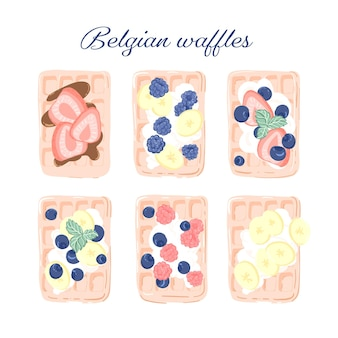 Set tekening met belgische wafels versierd met fruit en bessen. handgetekende illustratie voor blog over eten of lifestyle
