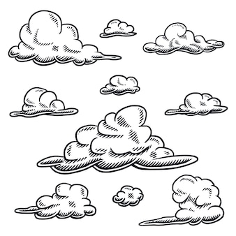 Set tekening van wolk, geïsoleerd op een wit
