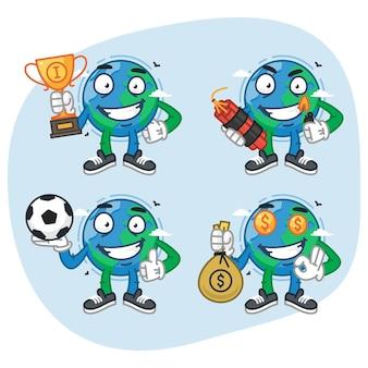 Set tekens aarde houdt beker dynamiet geld voetbal. vectorillustratie. mascotte karakter.