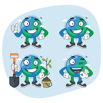 Set tekens aarde houdt schop toont verschillende gebaren. vectorillustratie. mascotte karakter.