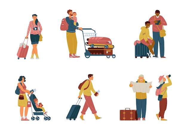 Set tekens in luchthaven met koffers kar rugzakken reizen alleen gezin senior koppel