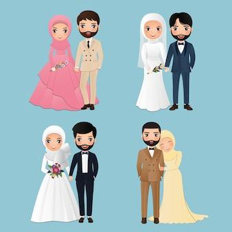 Set tekens schattige moslim bruid en bruidegom. bruiloft uitnodigingen kaart. vectorillustratie in paar cartoon verliefd