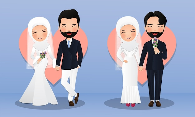 Set tekens schattige moslim bruid en bruidegom. paar cartoon verliefd
