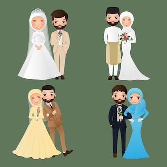 Set tekens schattige moslim bruid en bruidegom.