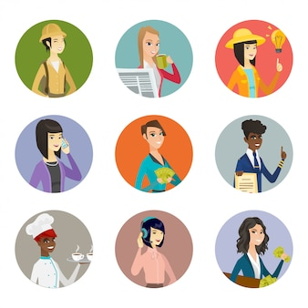 Set tekens van verschillende beroepen.