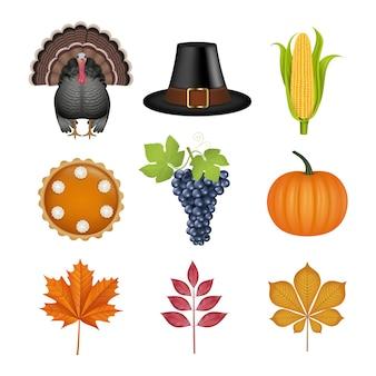Set thanksgiving-elementen. geïsoleerde kalkoen, pelgrimshoed, maïskolf, pompoentaart, druiven, pompoen en herfstbladeren illustratie