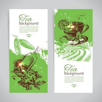 Set thee vintage banners. hand getrokken schets illustraties. achtergronden voor menuontwerp