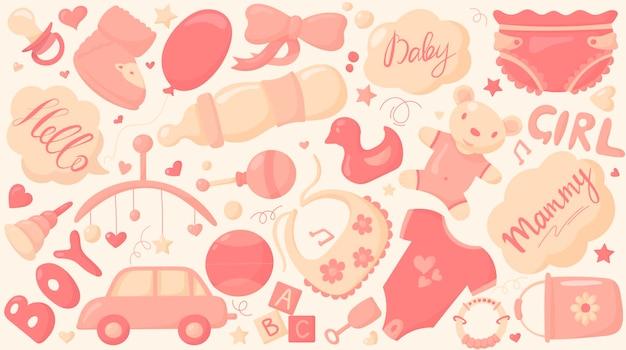 Set thema van kindertijd en dingen voor pasgeborenen.