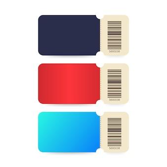 Set ticket. sjabloonkaartjes. kleurrijk bioscoopkaartje dat op witte achtergrond wordt geïsoleerd.