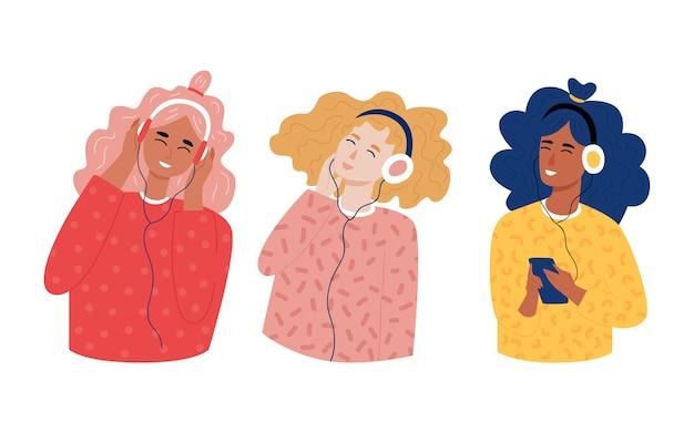 Set tienermeisjes hipster luisteren naar muziek met een koptelefoon. trandy handgetekende stijl. jong