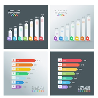 Set tijdlijn infographic ontwerpsjablonen.