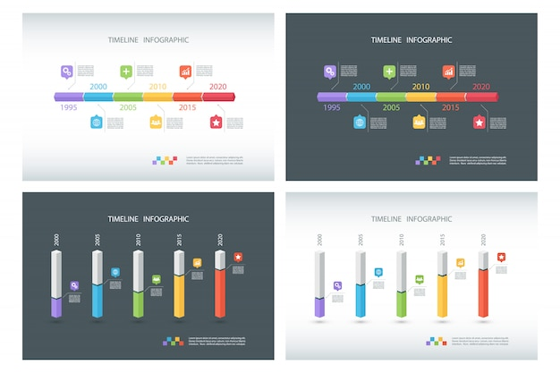 Set tijdlijn infographic sjablonen.