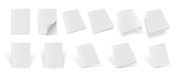 Set tijdschriftomslagen van verschillende kanten op een witte achtergrond