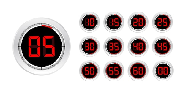 Set timers. teken pictogram. timer met volledige rotatiepijl. gekleurde plat pictogrammen. set van 12 timerpictogrammen. platte ontwerp vector stock illustratie. vector illustratie