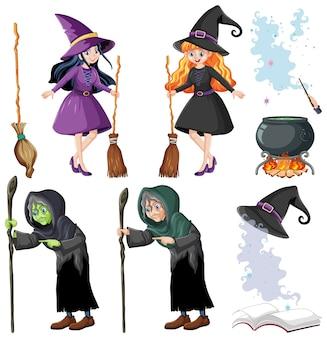 Set tovenaar of heksen en hulpmiddelen cartoon stijl geïsoleerd op wit