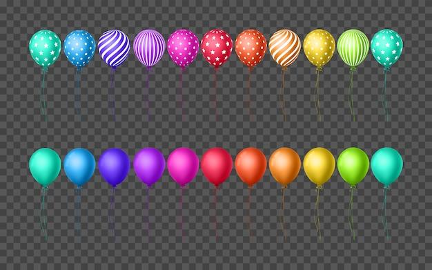 Set transparante ballonnen in verschillende kleuren