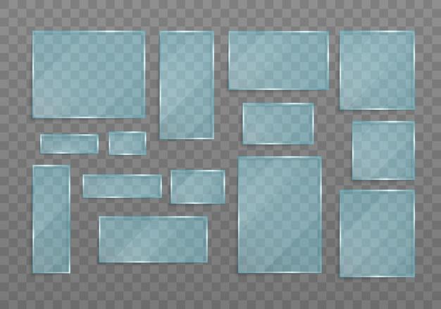 Set transparante banners gemaakt van glas