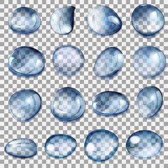Set transparante druppels van verschillende vormen in donkerblauwe kleuren