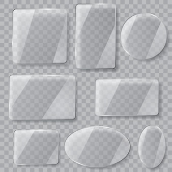 Set transparante glasplaten met verschillende vormen