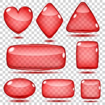 Set transparante glasvormen in rode kleuren