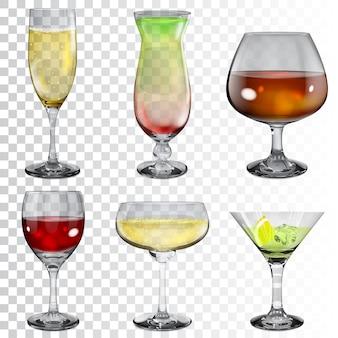 Set transparante glazen bekers met wijn, cocktail, champagne en cognac