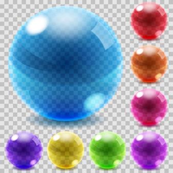 Set transparante glazen bollen illustraties in verschillende kleuren