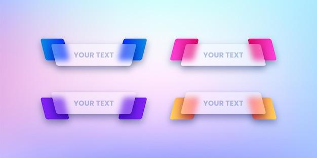 Set transparante tekst lintbanners