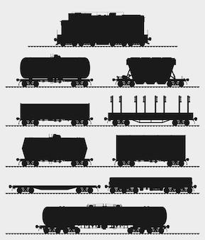 Set trein en verschillende soorten goederenwagons. gedetailleerde geïsoleerde vectorillustratie.