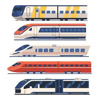 Set trein-, tram- en metro-zijaanzicht, metrolocomotief op rails, modern stadsvervoer voor woon-werkverkeer, spoorvoertuigmodi