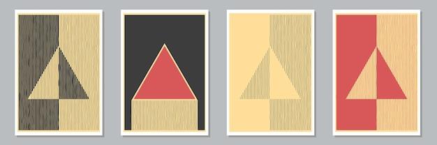 Set trendy abstracte creatieve minimale artistieke handgeschilderde composities voor wanddecoratie, briefkaart of brochureomslagontwerp. vector illustratie.