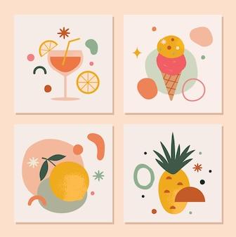 Set trendy abstracte zomerkaarten in vector met citroen-ananasijs en drankjes