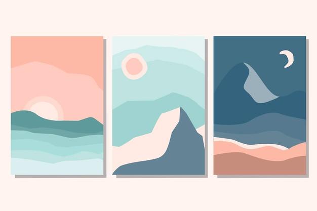 Set trendy minimalistische esthetische landschaps abstracte hedendaagse collage met met zonsopgang, zonsondergang, nacht. aardetinten, pastelkleuren. platte vectorillustratie. sjablonen voor kunstafdrukken, boho wanddecoratie