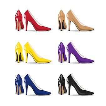 Set trendy vrouw schoenen