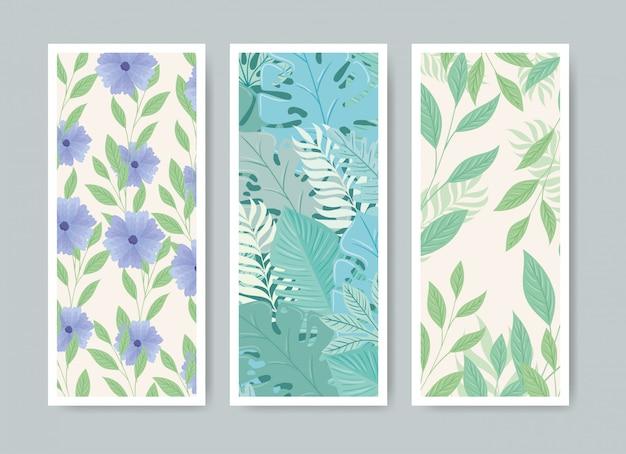 Set tropische achtergrond en bloemen met bladerenpastelkleur