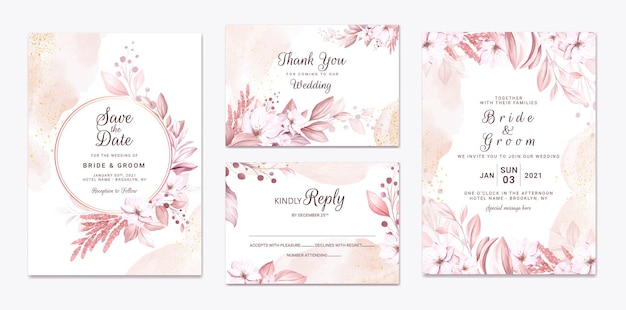 Set trouwkaarten met mooie zachte romige bloemen en bladeren and